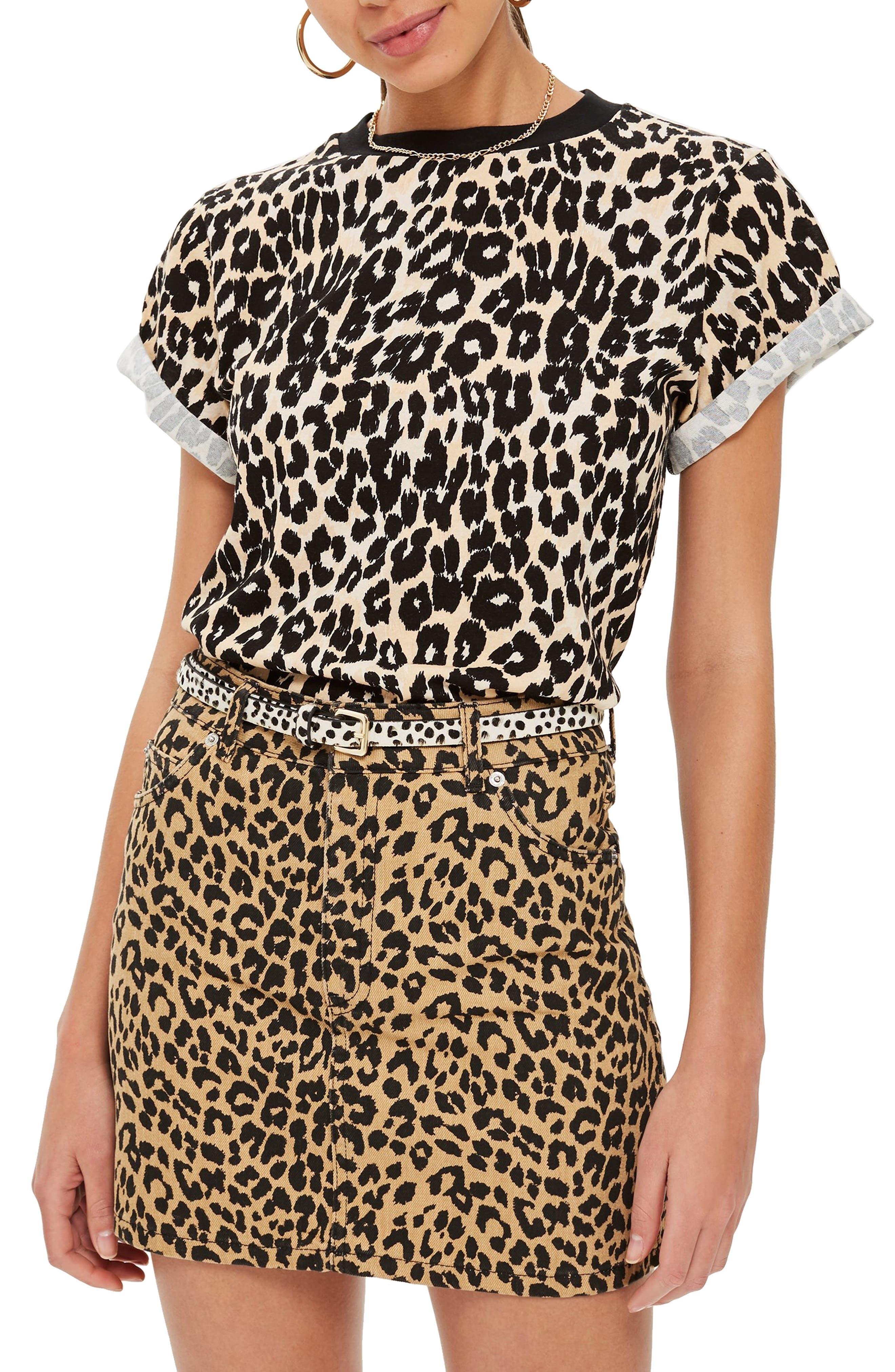 Leopard Print Tee,                         Main,                         color, Black Multi
