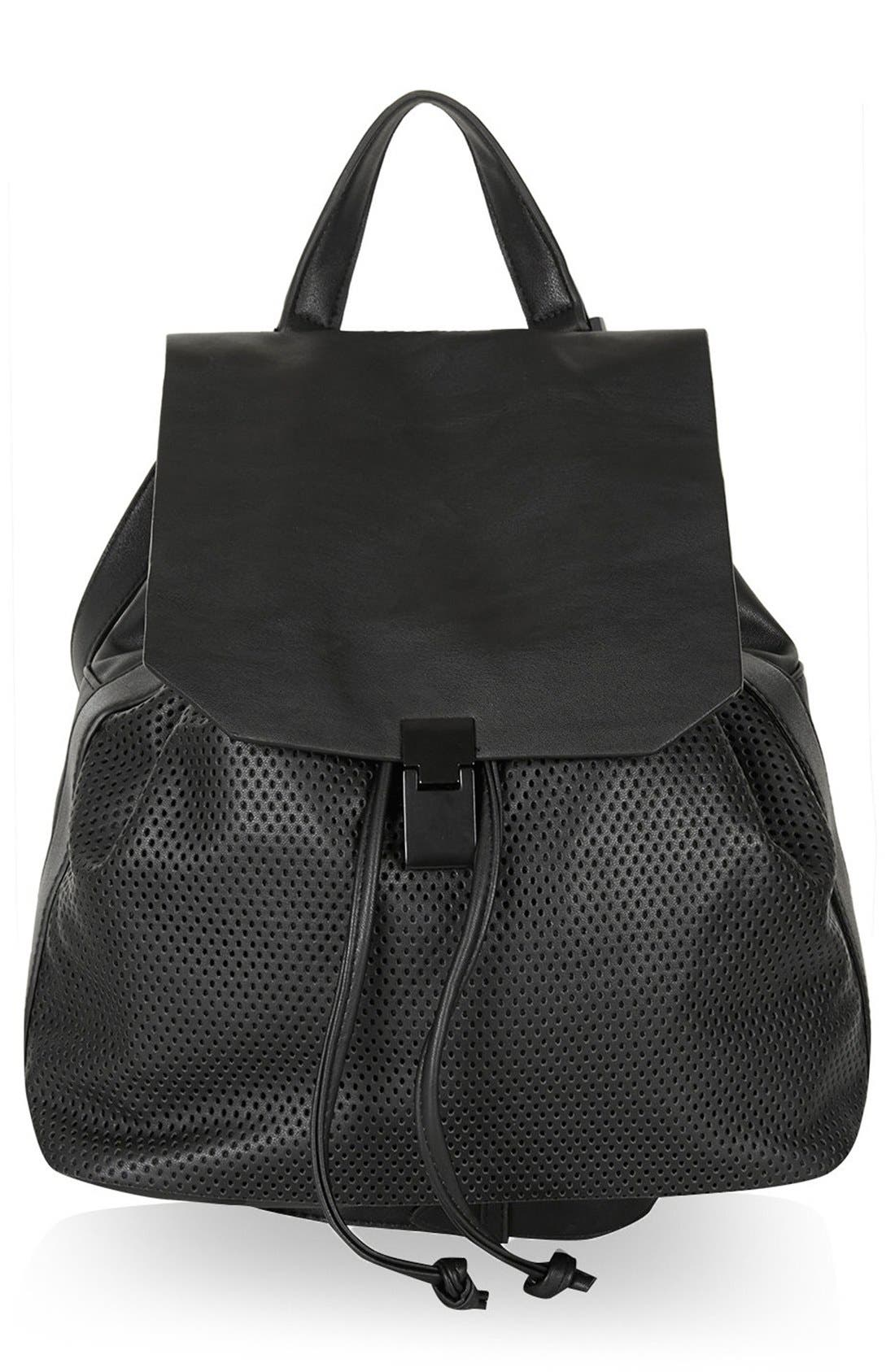 Main Image - Topshop Perforated Faux Leather Backpack