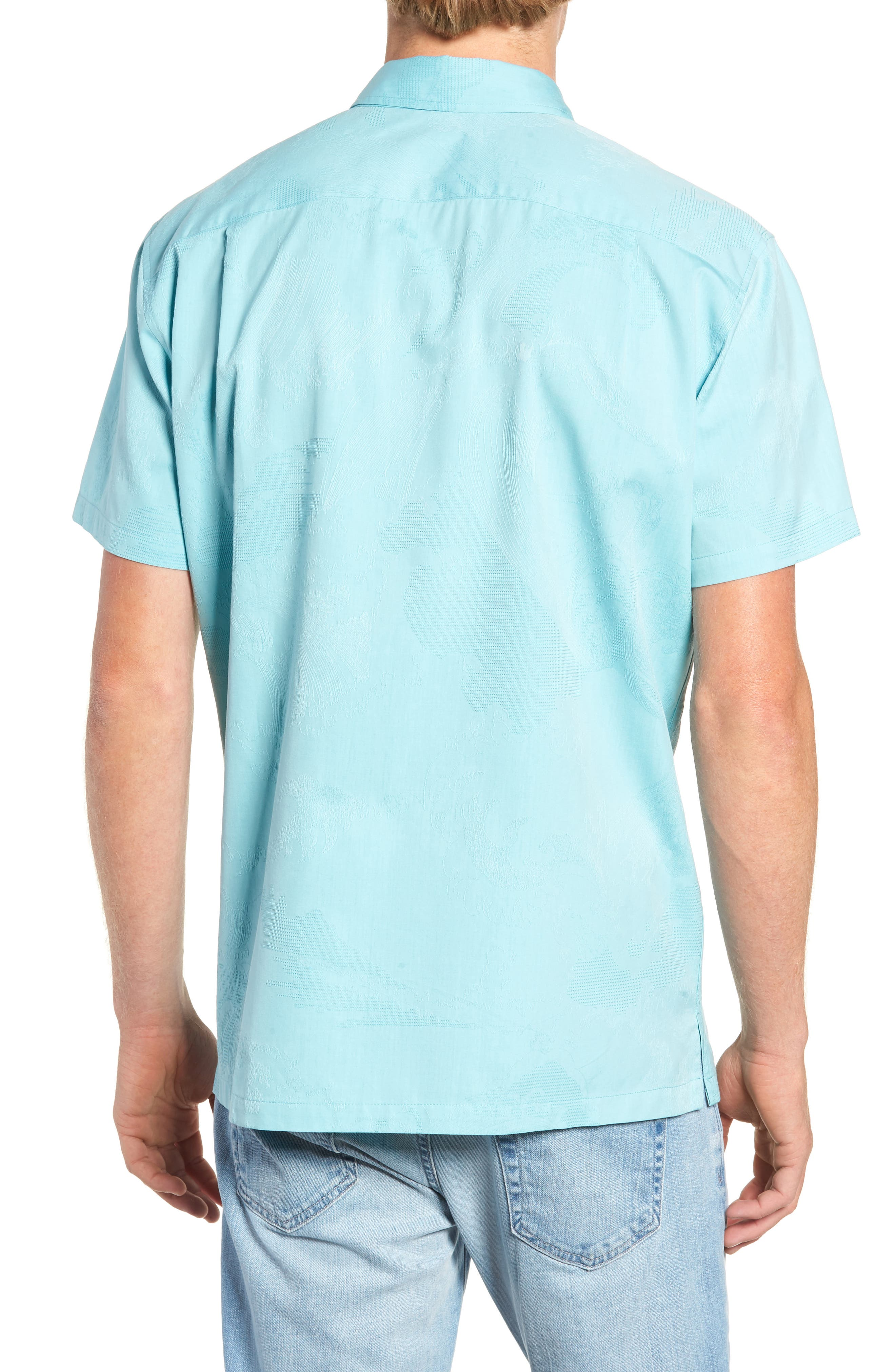 Seas the Day Trim Fit Camp Shirt,                             Alternate thumbnail 4, color,                             Surf