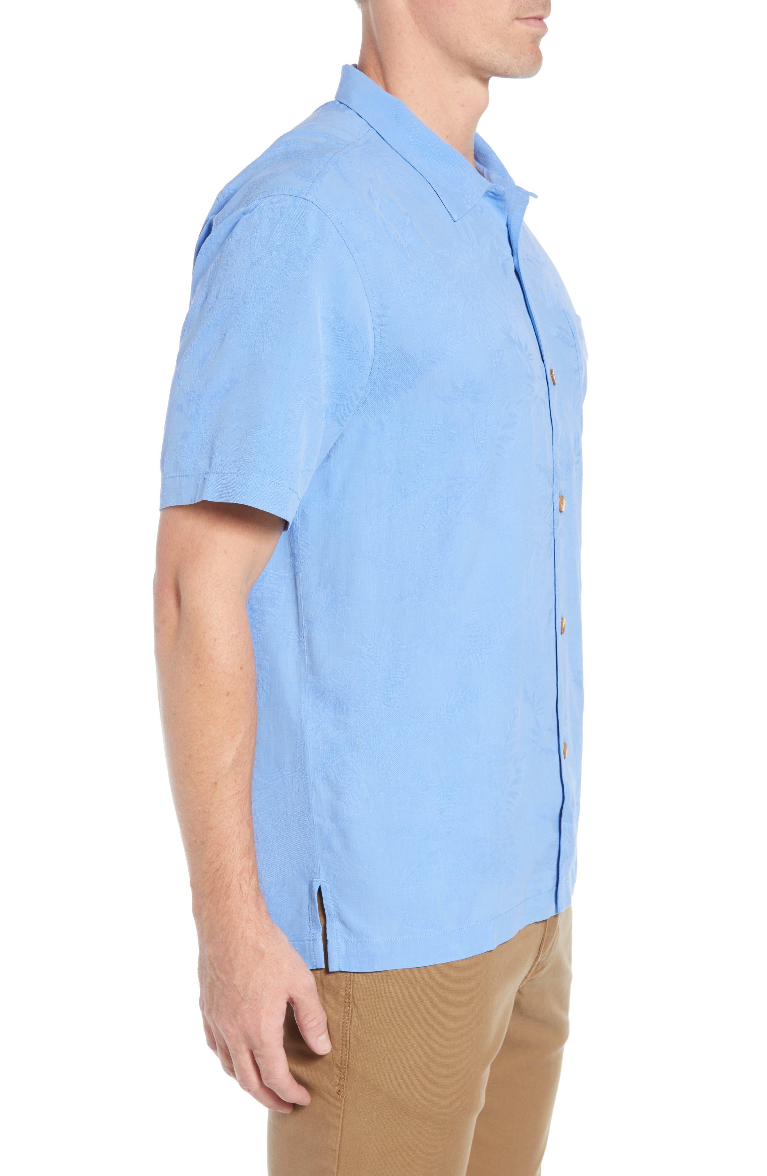St Lucia Fronds Silk Camp Shirt,                             Alternate thumbnail 4, color,                             New Blue Opal