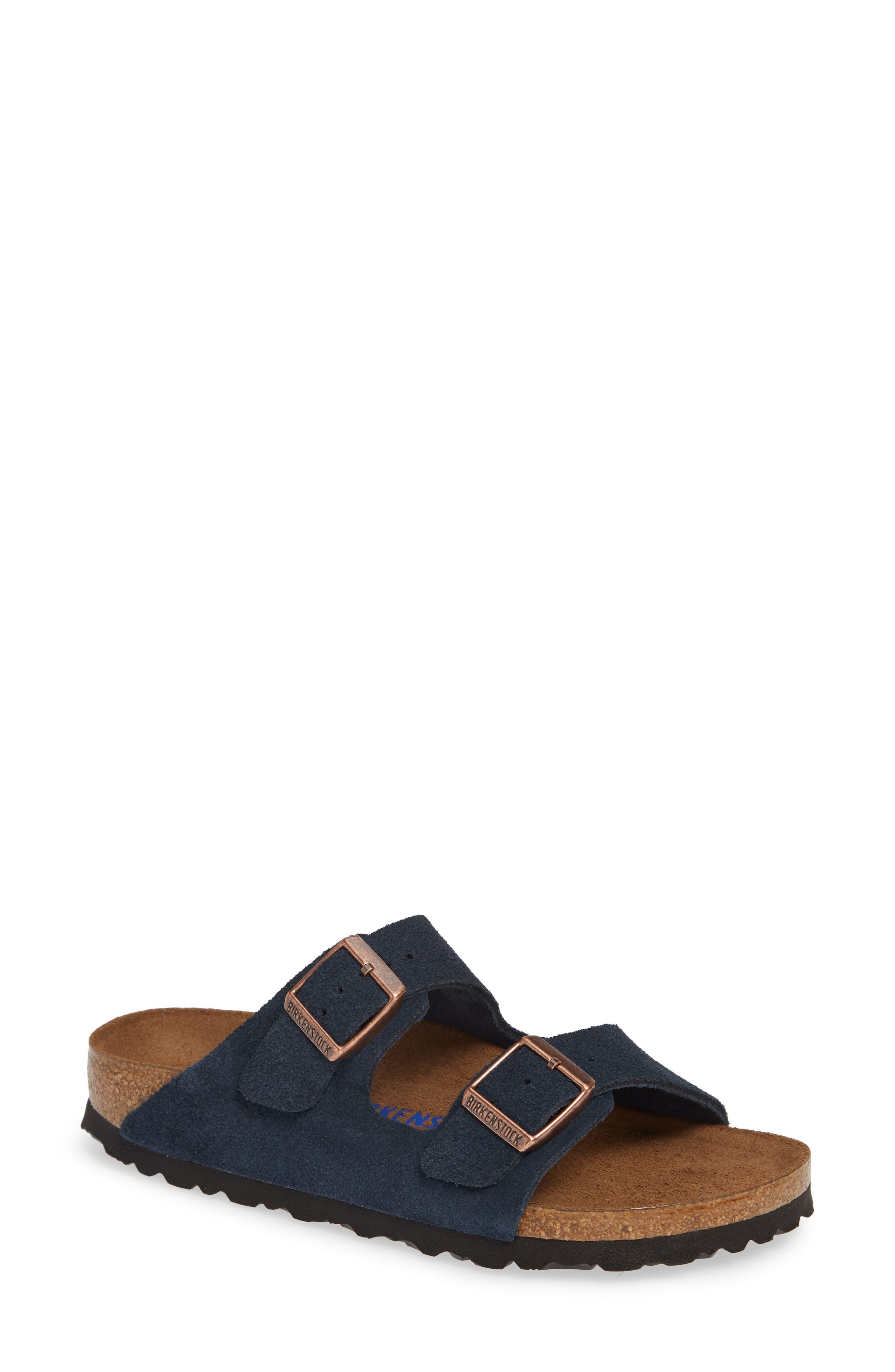 'Arizona' Soft Footbed Suede Sandal,                             Main thumbnail 1, color,                             Navy