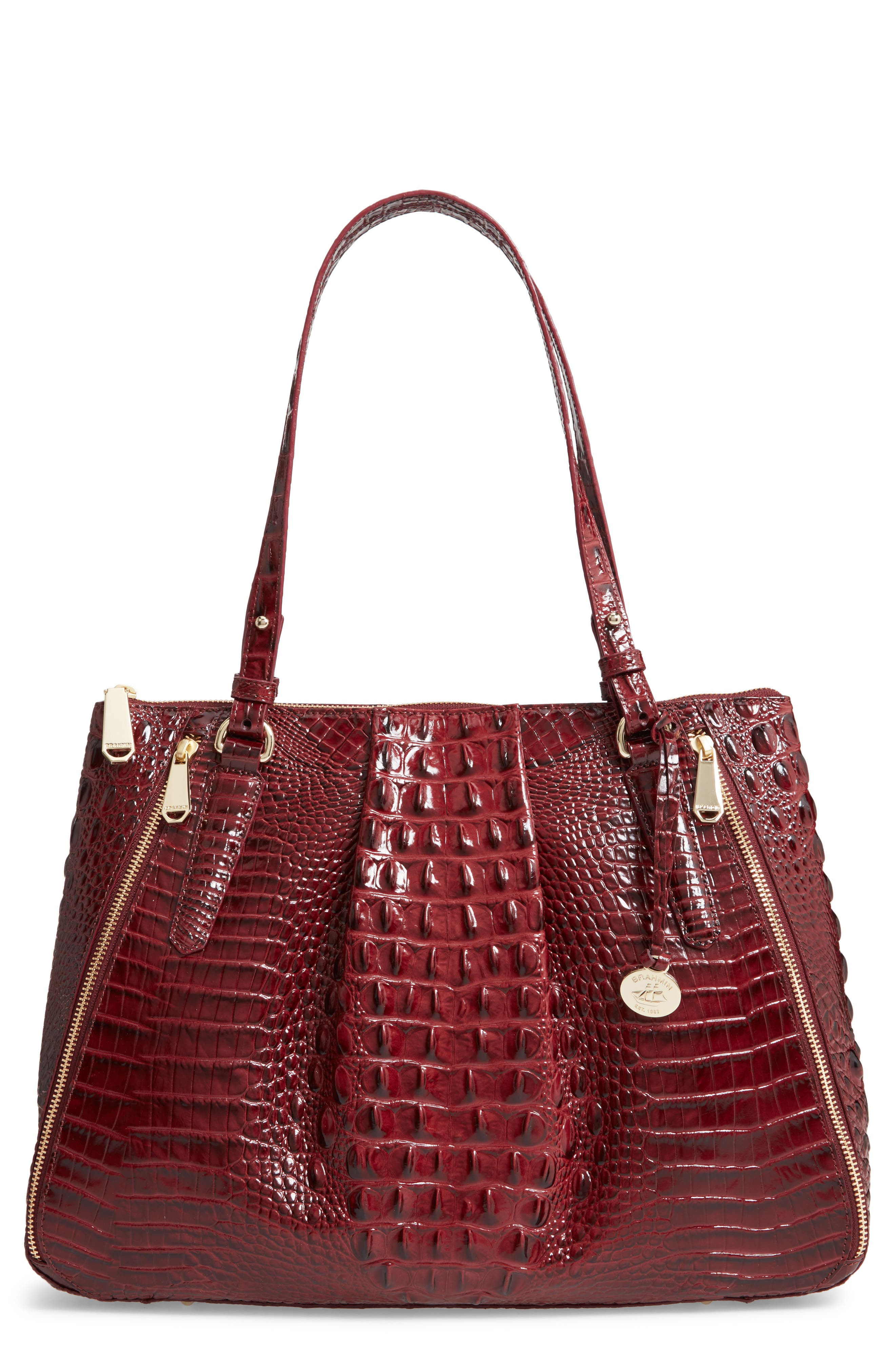 Melbourne - Adina Croc Embossed Leather Satchel,                         Main,                         color, Tart
