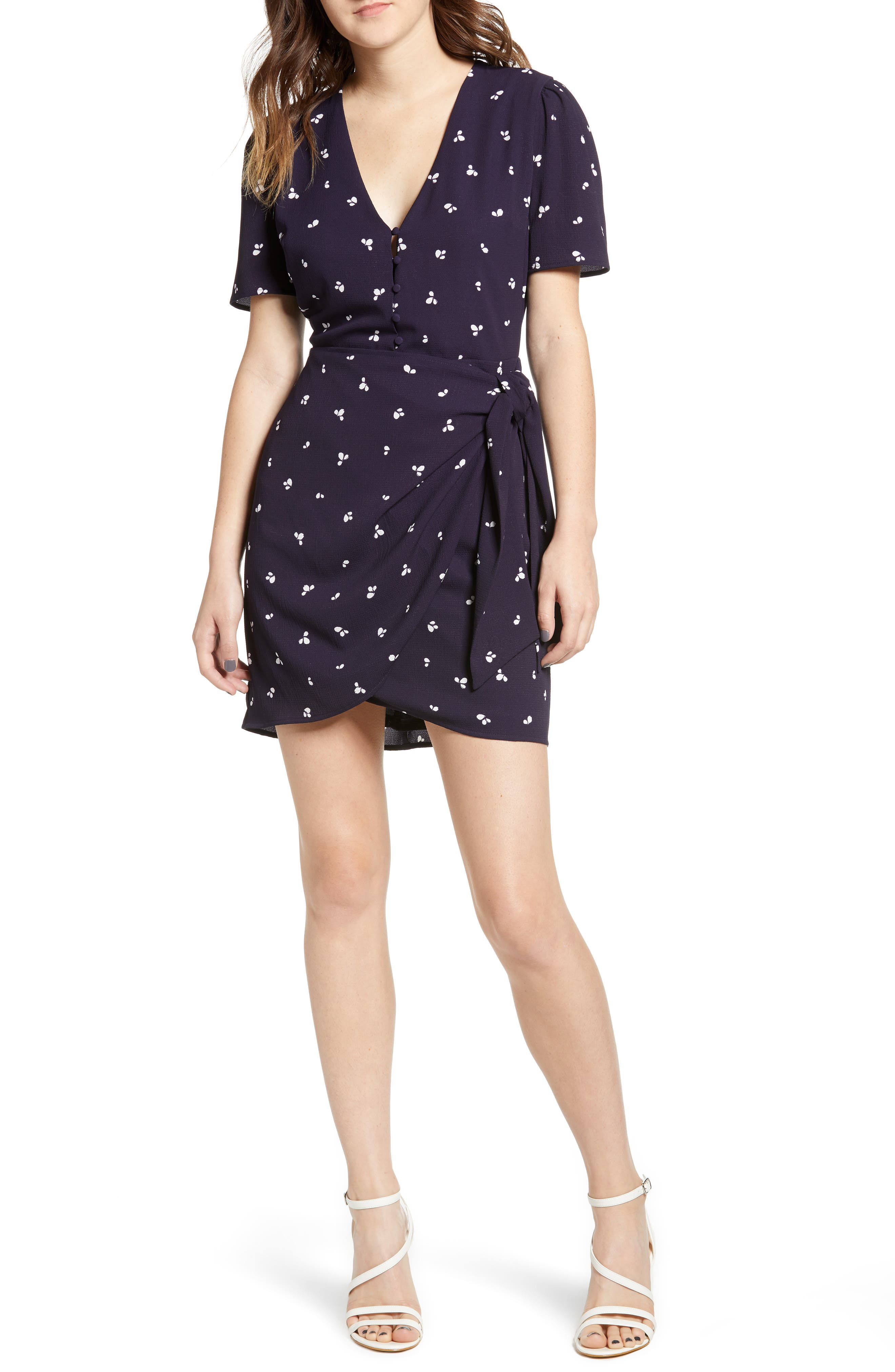 Faux Wrap Dress,                         Main,                         color, Navy/ Ivory