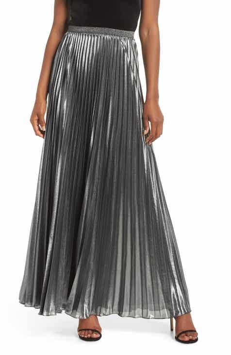 4c9a37a1797 Eliza J Pleated Lamé Maxi Skirt