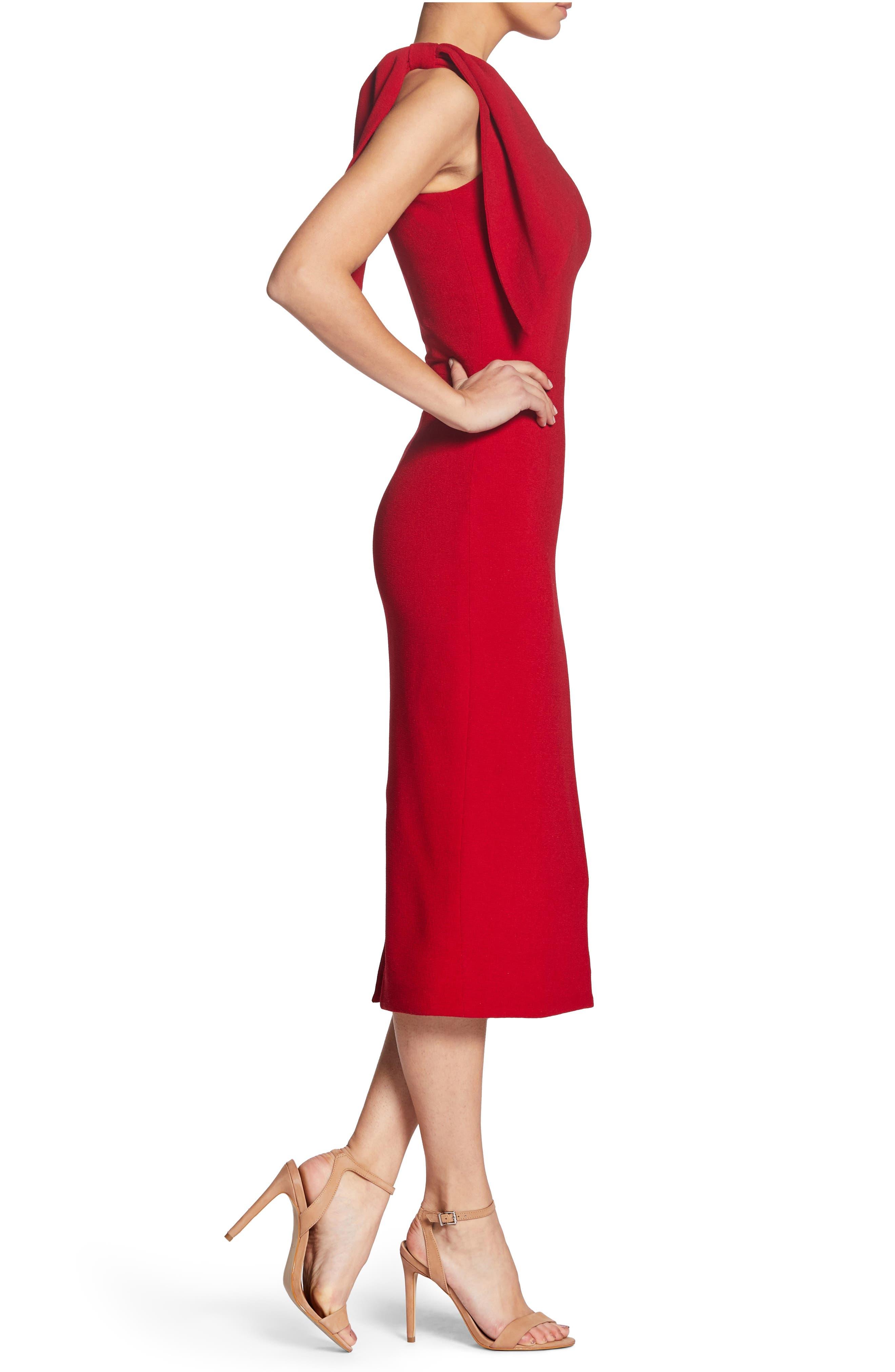 Tiffany One-Shoulder Midi Dress,                             Alternate thumbnail 3, color,                             Garnet