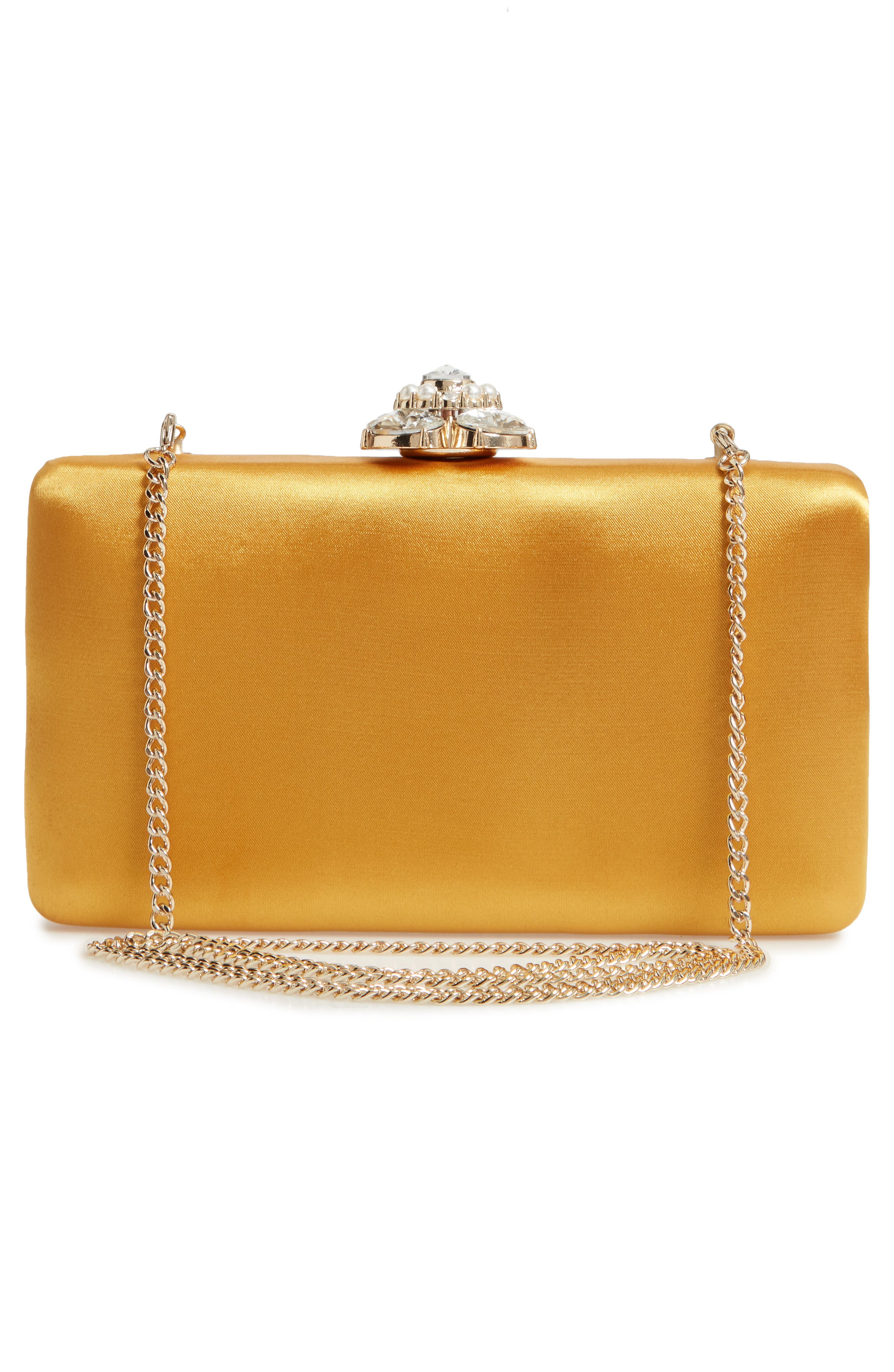 Crystal Imitation Pearl Clasp Box Clutch,                             Alternate thumbnail 3, color,                             Yellow Gold