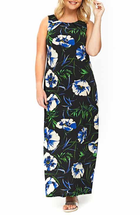 45a7f99d6e0a8 Evans Black Floral Maxi Dress (Plus Size)