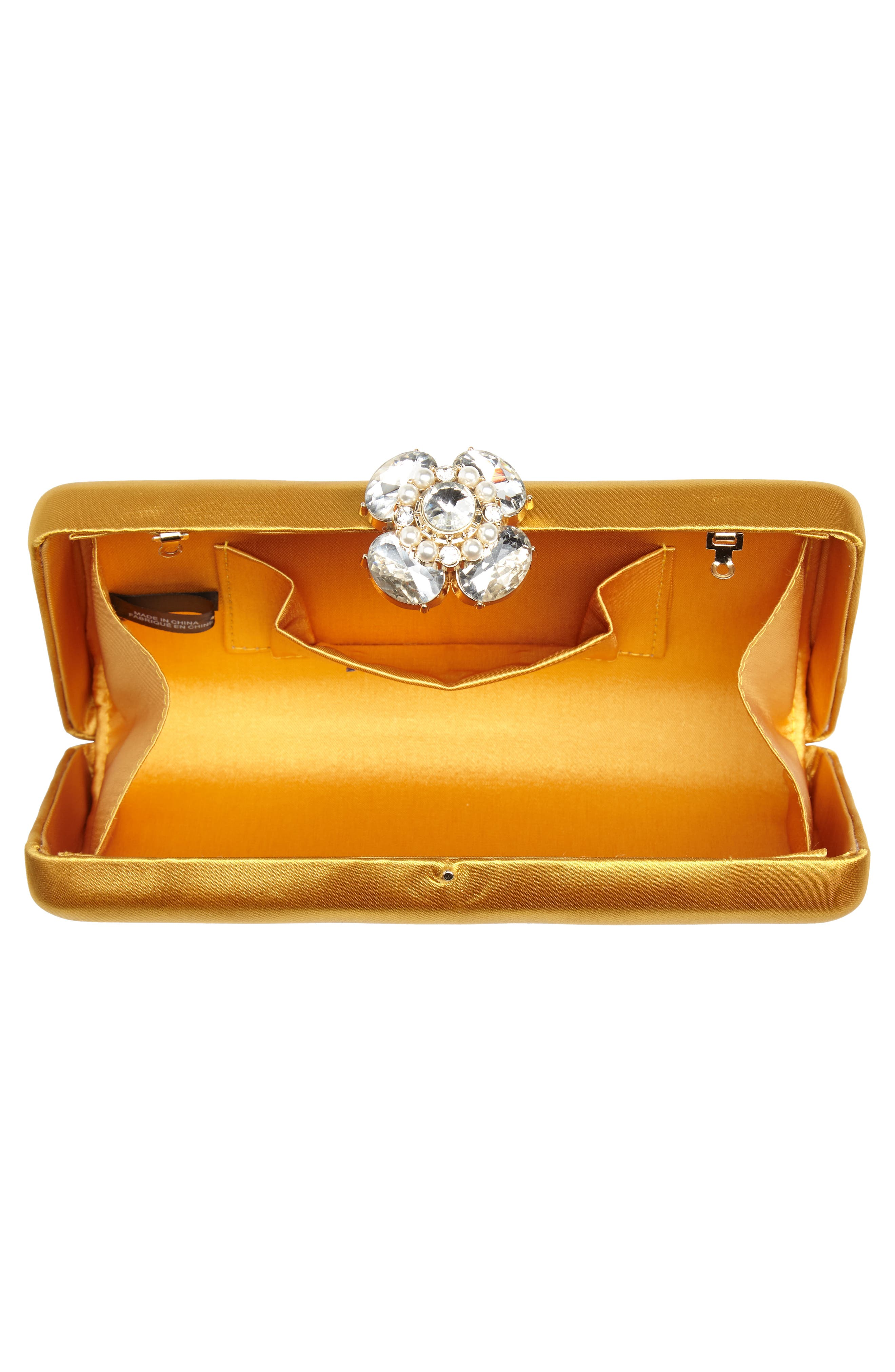 Crystal Imitation Pearl Clasp Box Clutch,                             Alternate thumbnail 6, color,                             Yellow Gold
