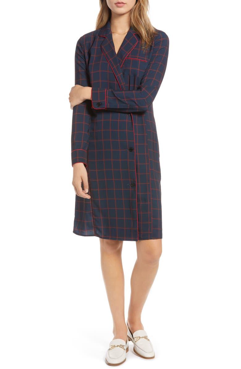 Plaid Shirtdress,                         Main,                         color, Navy Blazer Pop Grid