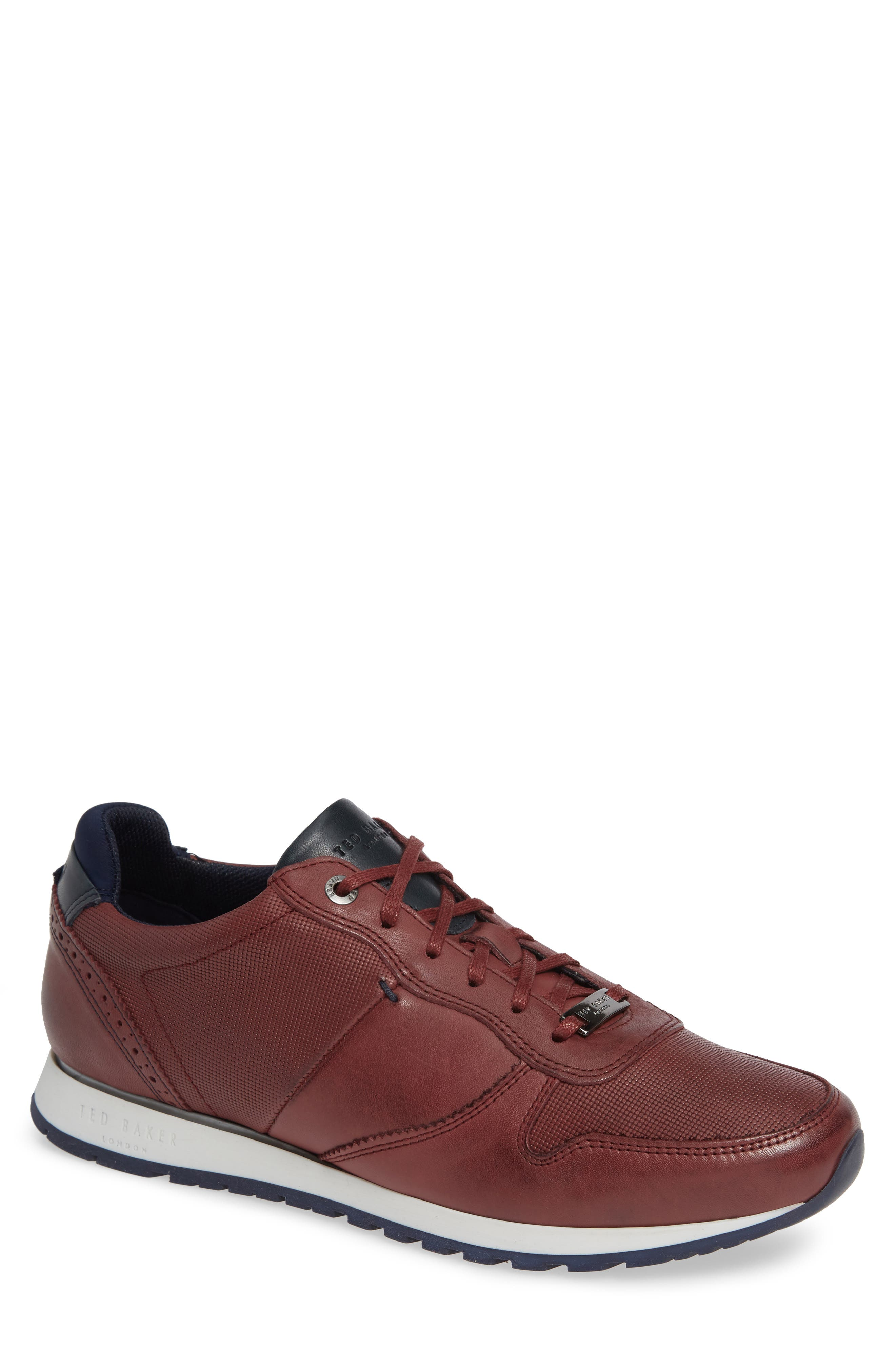 Shindl Sneaker,                         Main,                         color, Dark Red Leather