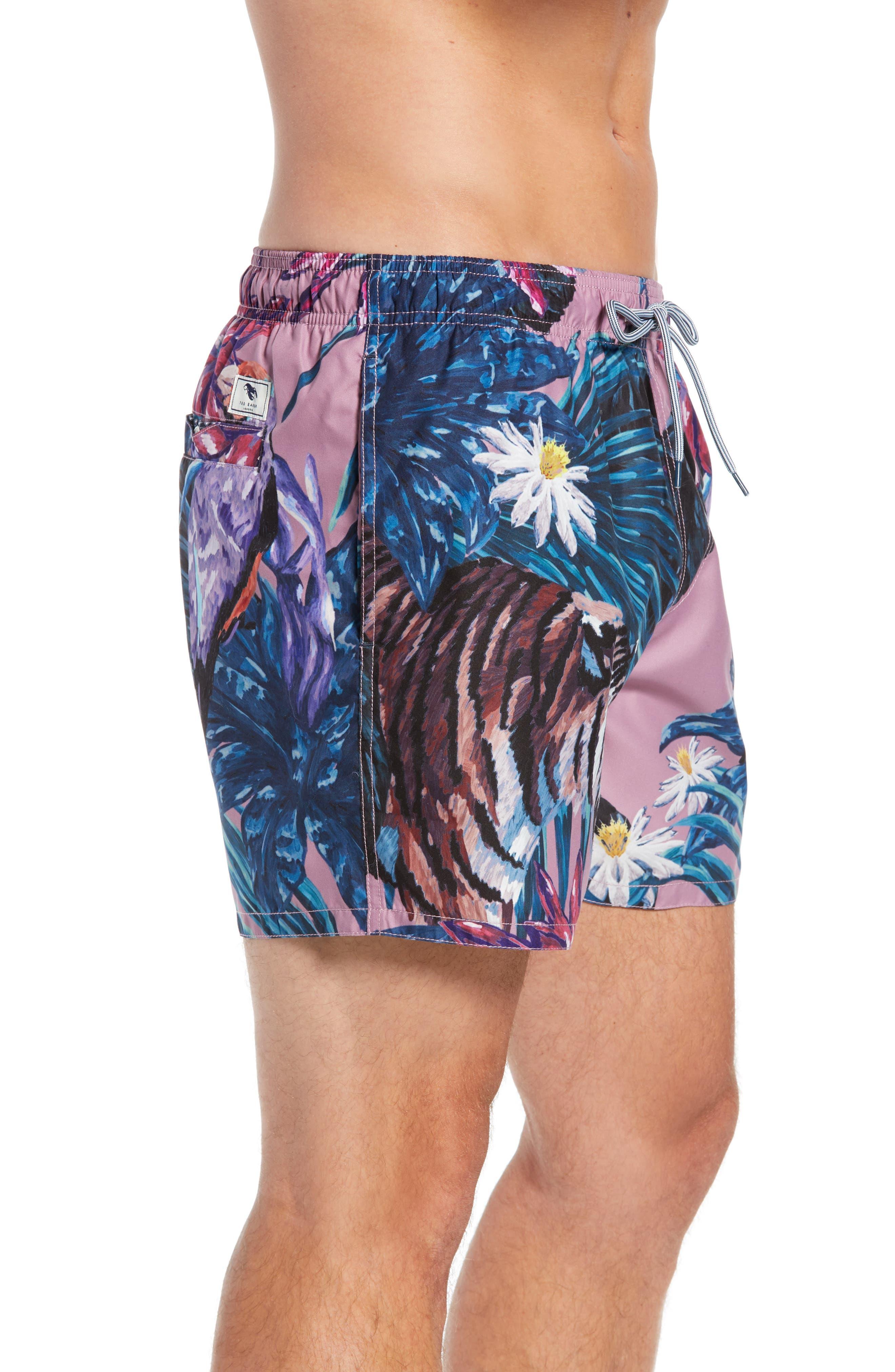 Nemo Tiger Print Swim Shorts,                             Alternate thumbnail 5, color,                             Pink