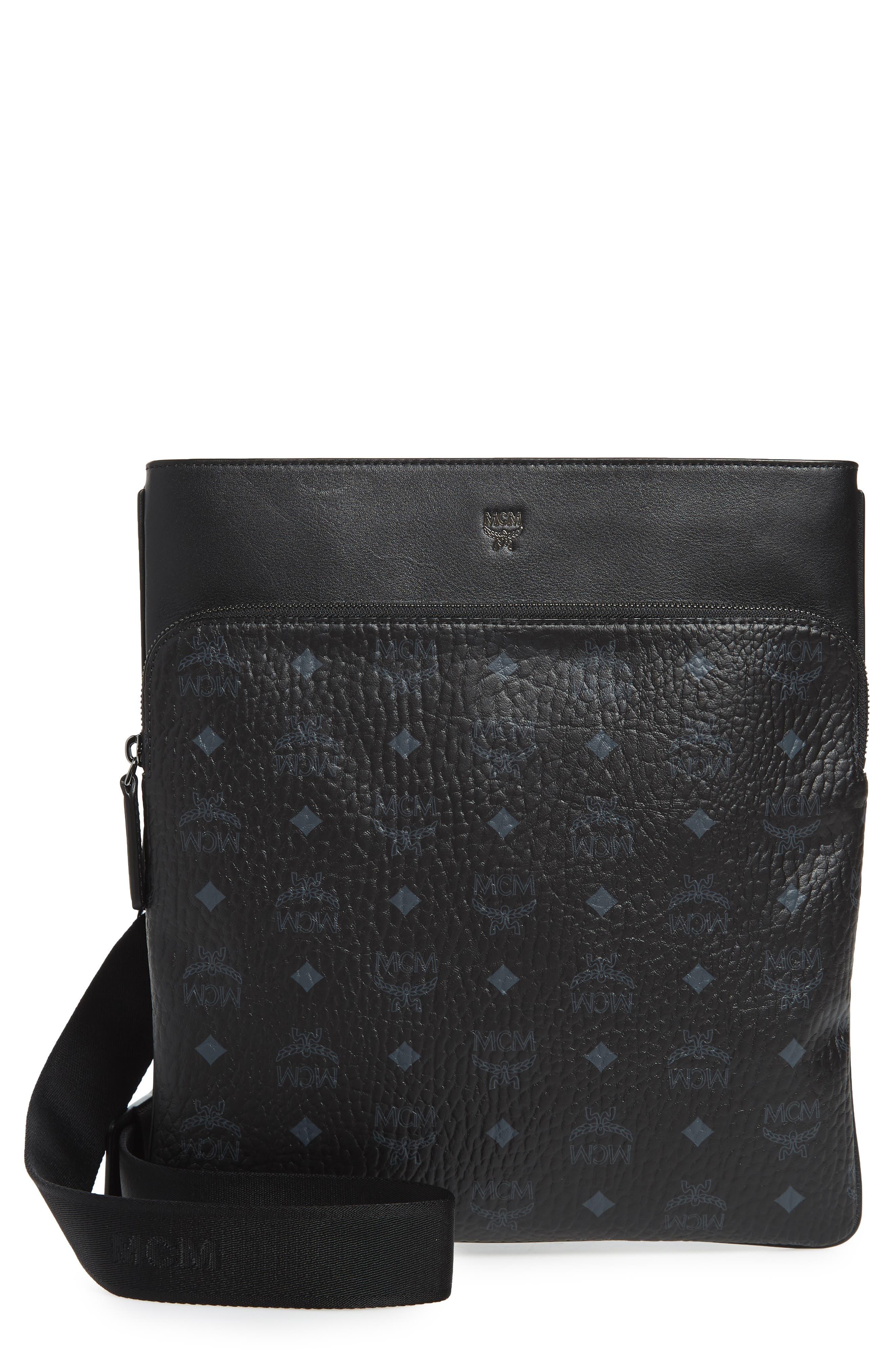 Ottomar Visetos Faux Leather Crossbody Bag,                             Main thumbnail 1, color,                             Black