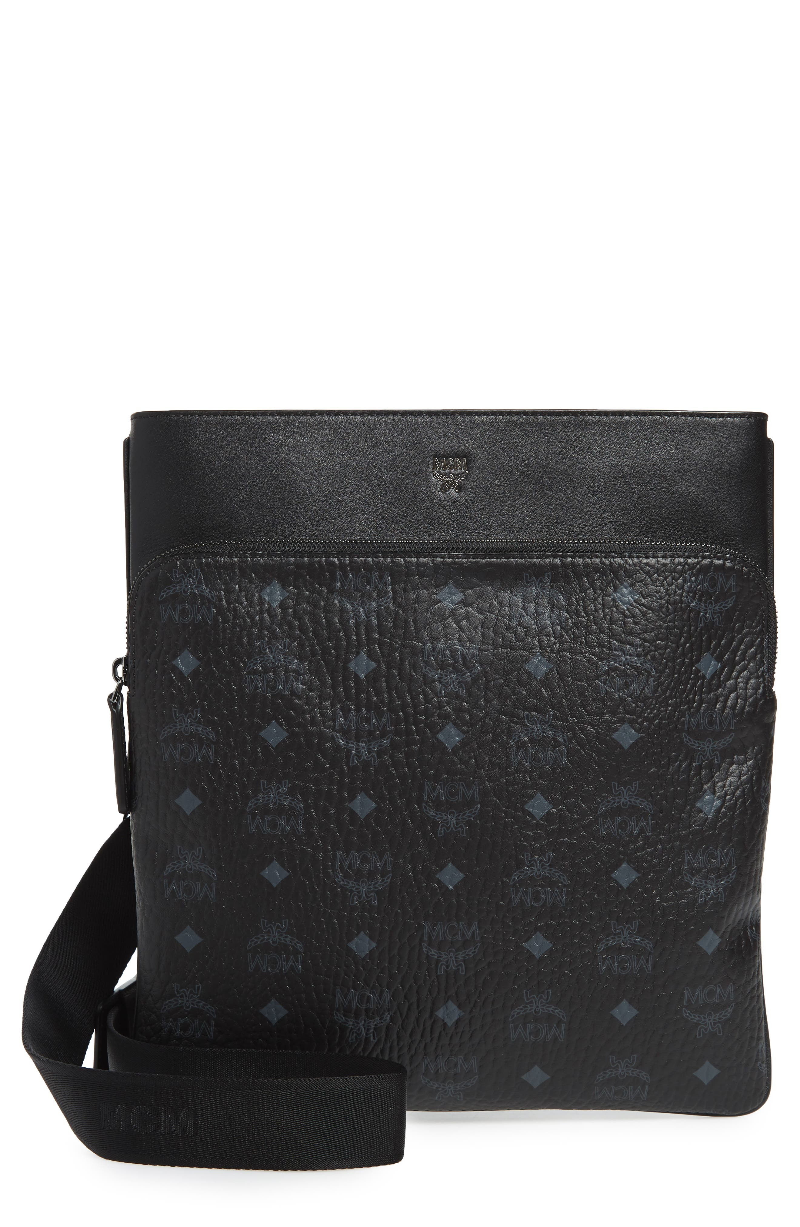 Ottomar Visetos Faux Leather Crossbody Bag,                         Main,                         color, Black