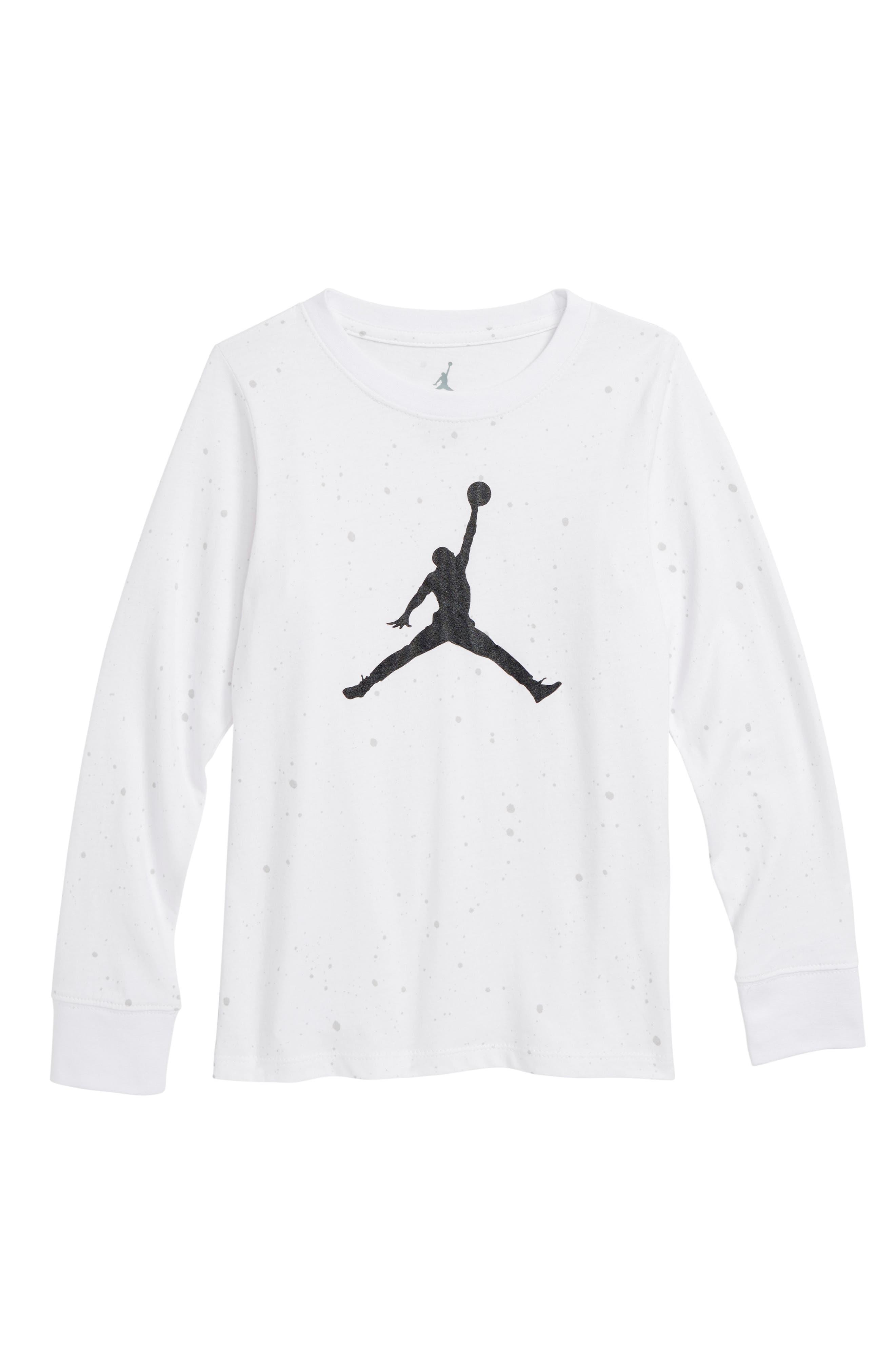 Jordan Jumpman Logo Speckle T-Shirt,                             Main thumbnail 1, color,                             White