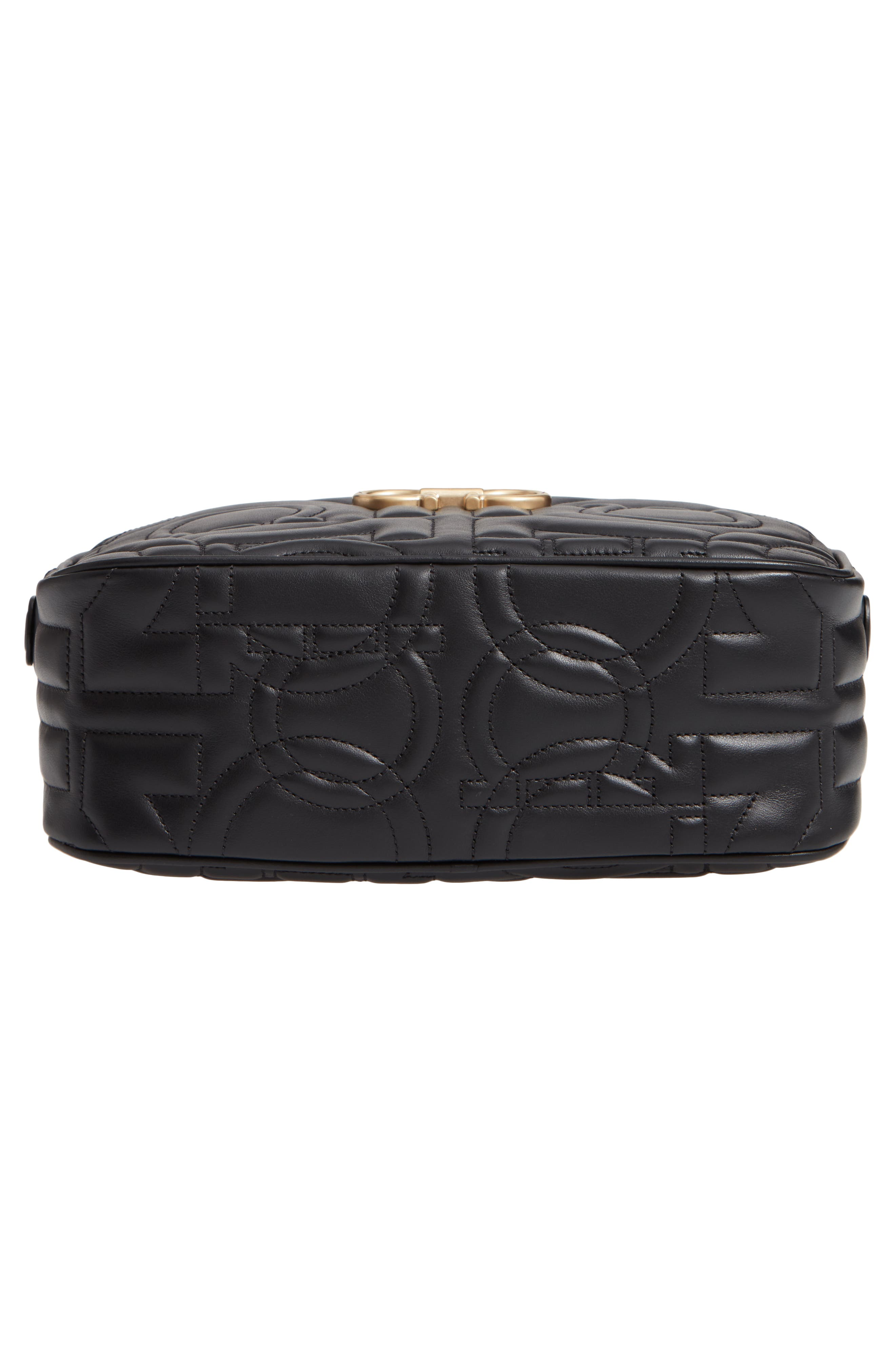 City Quilted Gancio Leather Camera Bag,                             Alternate thumbnail 3, color,                             Black