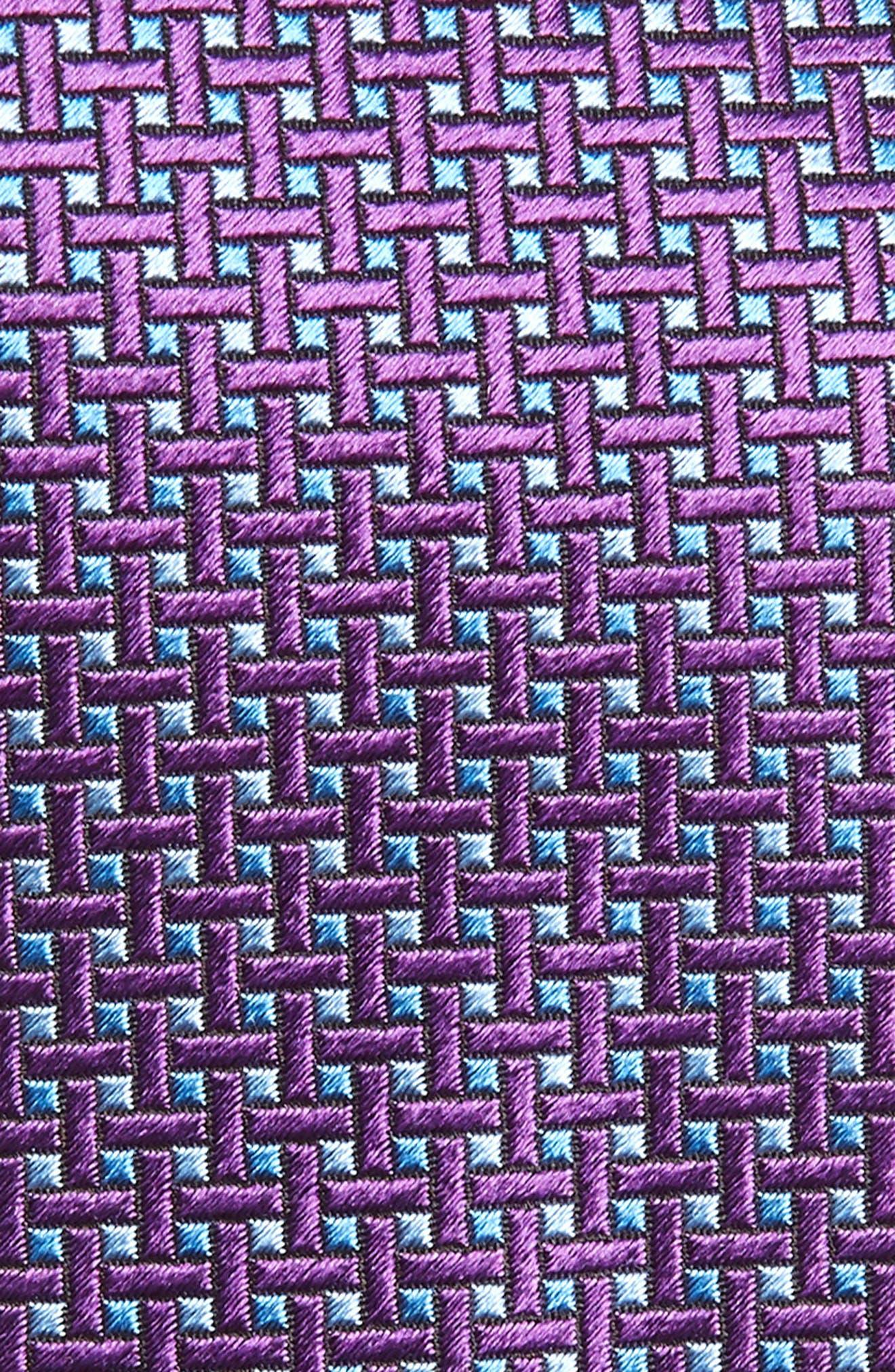 Geometric Silk X-Long Tie,                             Alternate thumbnail 2, color,                             Purple