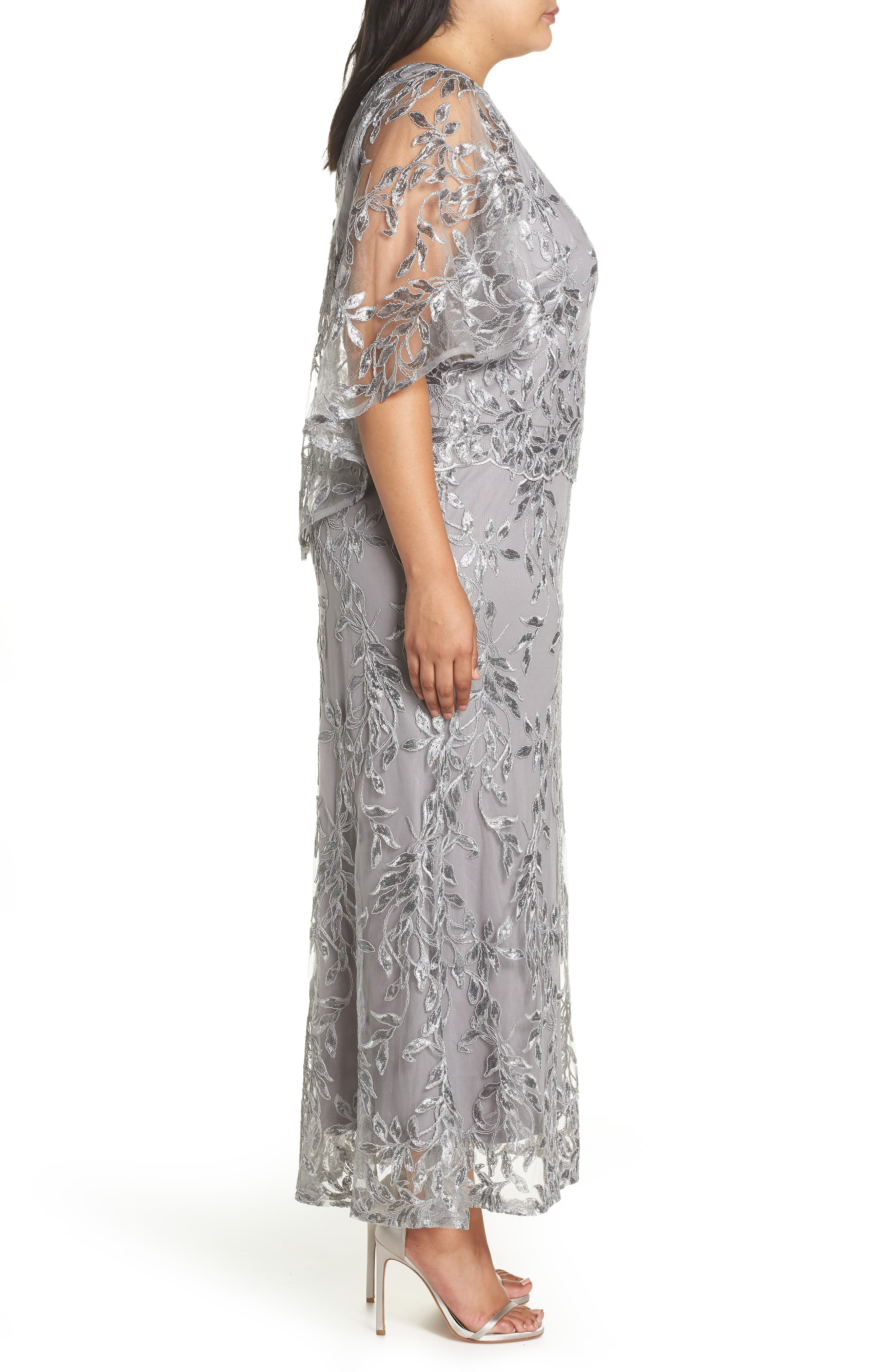 Sequin Embroidered Capelet Gown,                             Alternate thumbnail 3, color,                             Silver