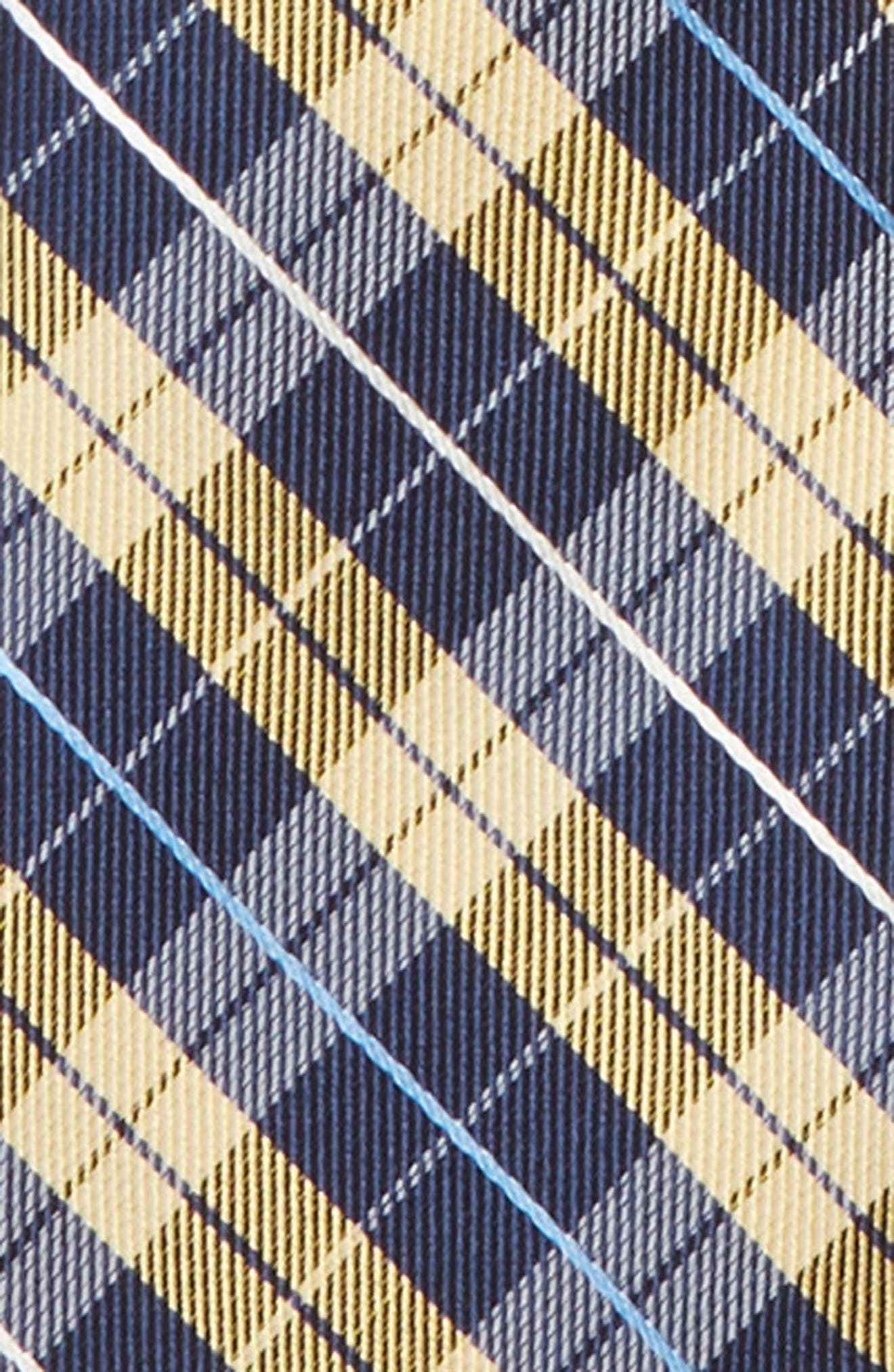 Plaid Silk Zip Tie,                             Alternate thumbnail 2, color,                             Yellow