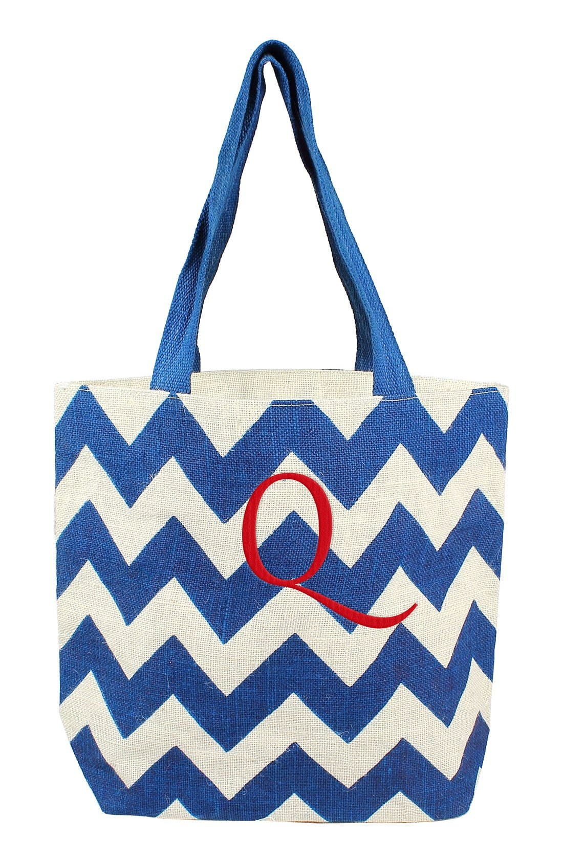 Monogram Chevron Print Jute Tote,                         Main,                         color, Blue/ Parchment - Q