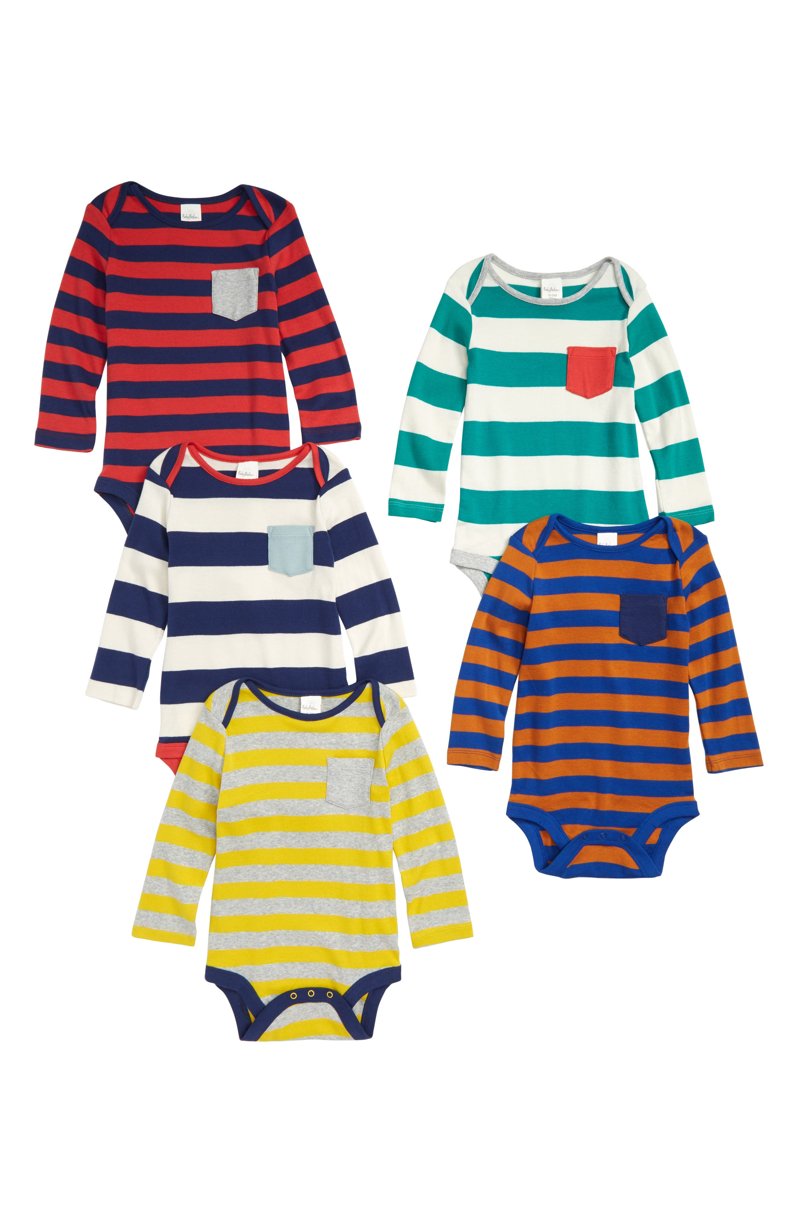 5-Pack Pocket Rompers,                             Main thumbnail 1, color,                             Multi Stripe
