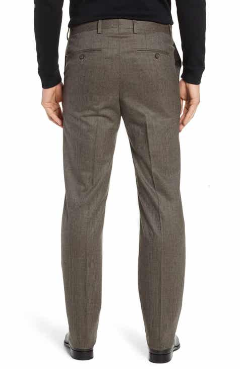 Berle Flat Front Stretch Houndstooth Wool Trousers