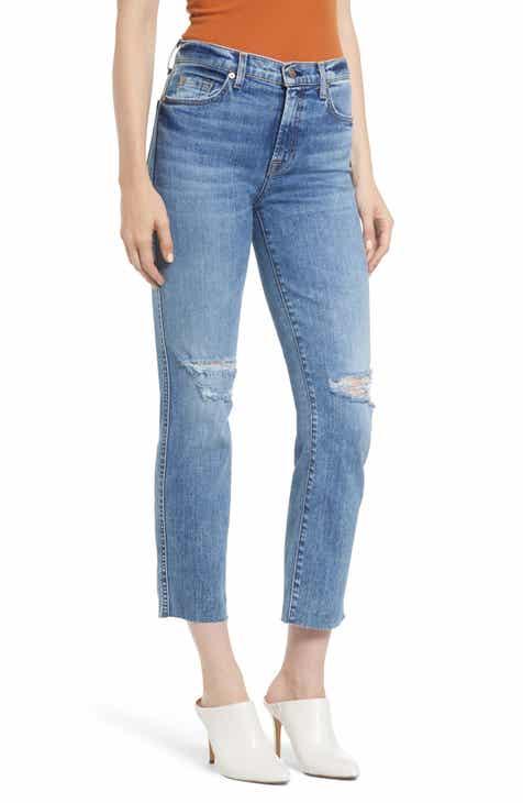 5b95ea6f5ae 7 For All Mankind® Edie Ripped High Waist Crop Straight Leg Jeans (Pretty  Vintage Blue)