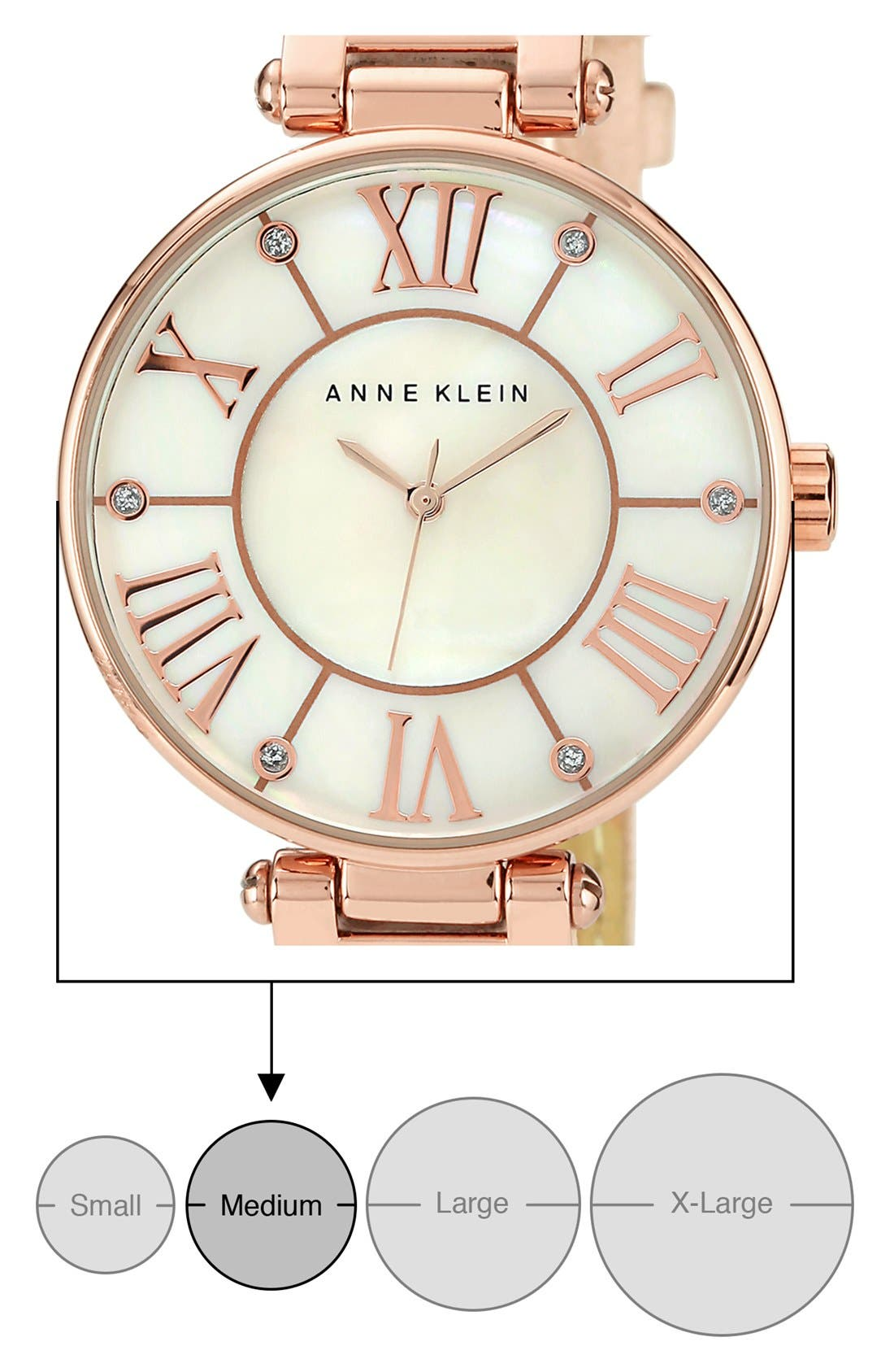 Alternate Image 4  - Anne Klein Round Roman Numeral Watch, 34mm