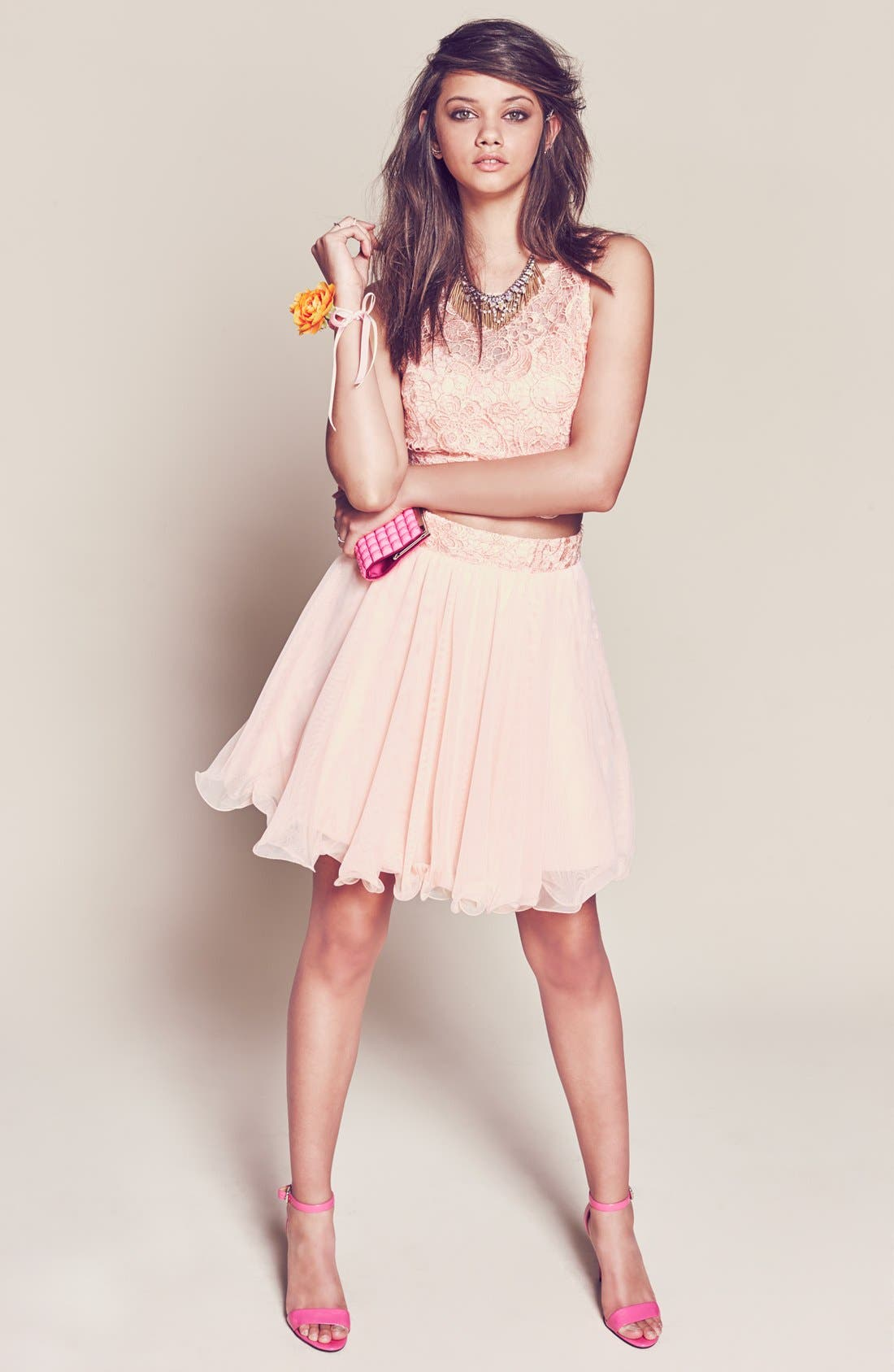 Alternate Image 4  - As U Wish 'Rosie' Two-Piece Lace Dress (Juniors)