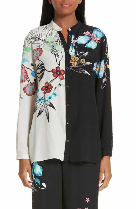 60e19ca3e6c35f Etro Bicolor Floral Print Silk Blouse