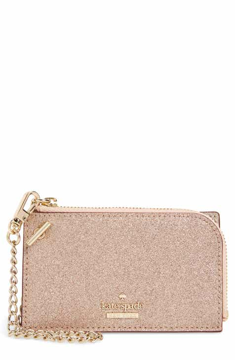 kate spade new york burgess court ivey glitter leather card holder - Card Holder With Keyring