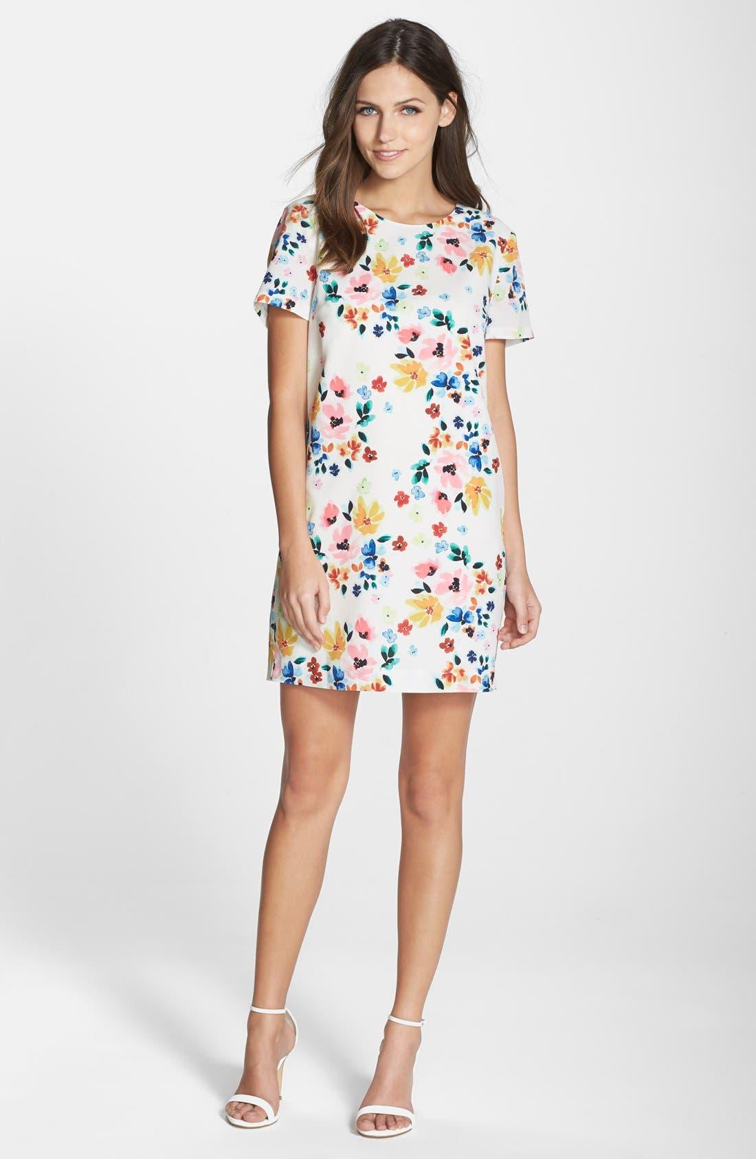 by Cynthia Steffe 'Kayte' Floral Print Shift Dress,                             Alternate thumbnail 3, color,                             Light Cream