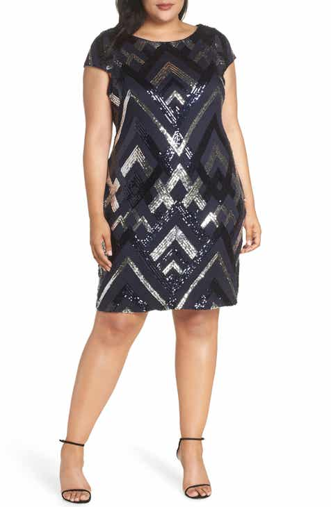 Vince Camuto Sequin Cap Sleeve Sheath Dress Plus Size