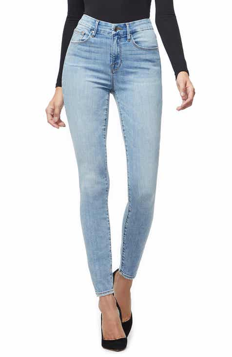 Good American Good Legs Ripped High Waist Skinny Jeans (Blue 221) (Regular    Plus Size) afec30471