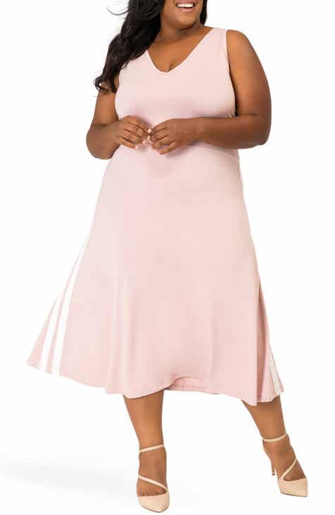 ee2c7b9a03543 Poetic Justice Rina Side Stripe Fit and Flare Dress (Plus Size)
