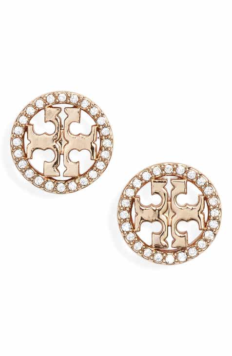 Tory Burch Crystal Logo Circle Stud Earrings