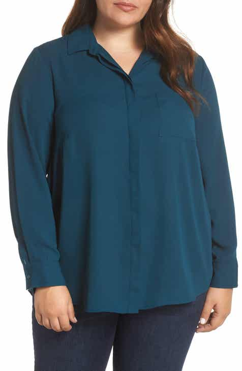 &.Layered Shirt Collar Blouse (Plus Size)