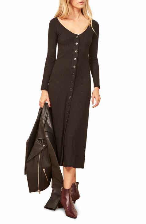 Reformation Ella Ribbed Midi Dress