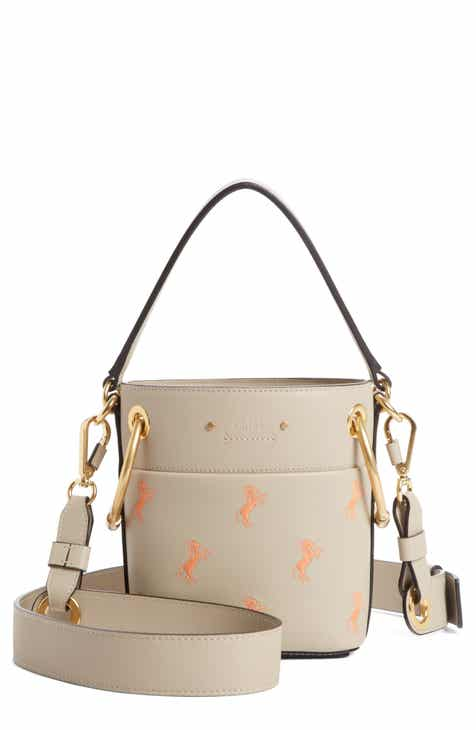 Chloé Roy Mini Embroidered Leather Bucket Bag