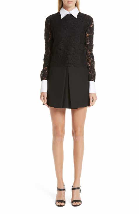 Valentino Contrast Collar Lace & Crepe Couture Dress by VALENTINO