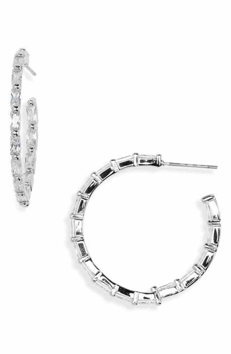 Nordstrom Modern Stone Baguette Crystal Hoop Earrings