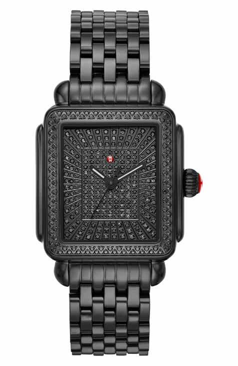 5ed14b8b5 MICHELE Deco Noir Diamond Watch Head & Bracelet, 33mm x 35mm