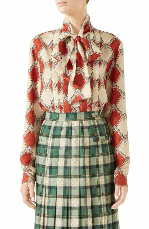 20dc291ff7af4 Gucci Rhombus Print Silk Tie Neck Blouse