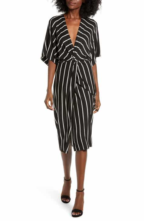 All in Favor Knot Front Stripe Kimono Dress