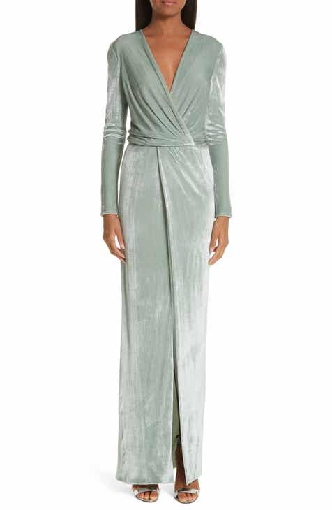 Galvan Surplice Neck Velvet Gown by GALVAN