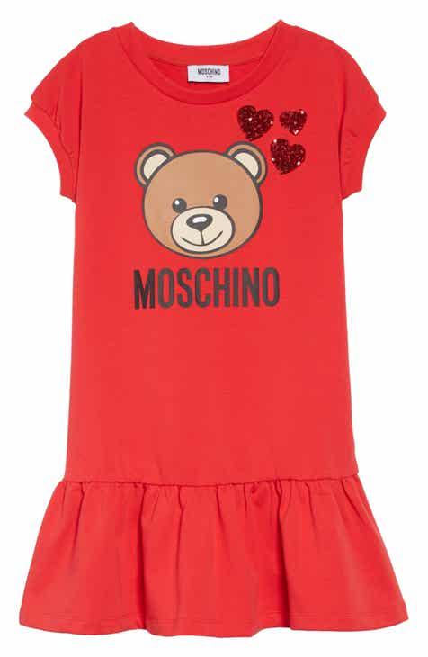 d31a802520f3a Moschino Bear Print   Sequin Hearts Dress (Little Girls   Big Girls)