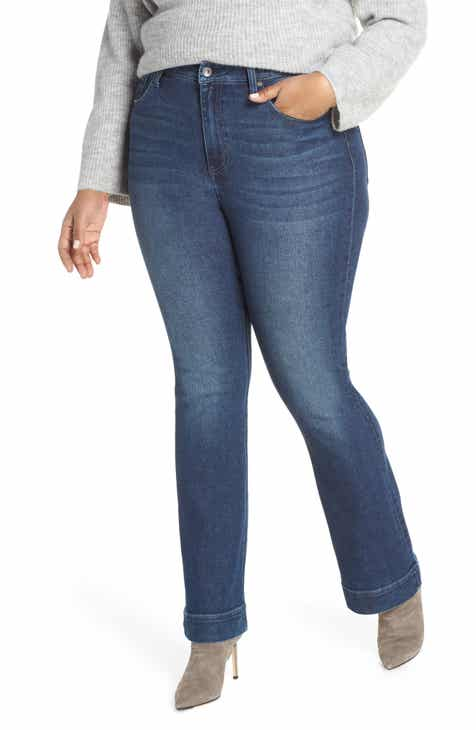 28e5df5669459 MAXSTUDIO Indigo Perfect Vintage High Rise Slim Bootcut Jeans (Silas) (Plus  Size)