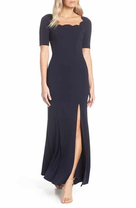 8b3d2650f0c Adrianna Papell Scallop Neck Crepe Evening Dress