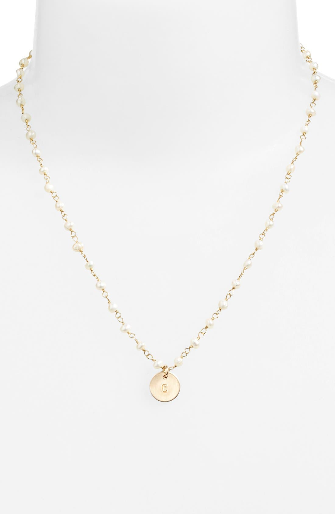 Alternate Image 2  - Nashelle 14k-Gold Fill Mini Initial Disc Pearl Necklace