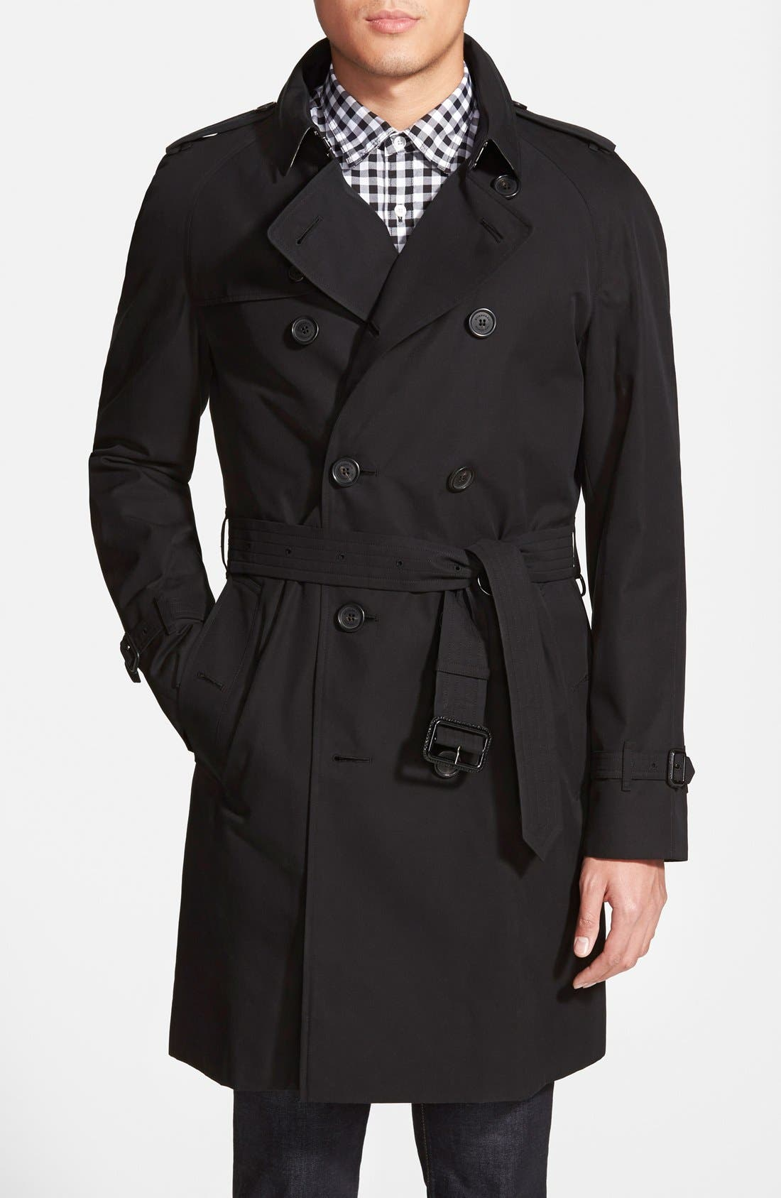 London 'Wiltshire' Trim Fit Double Breasted Trench Coat,                         Main,                         color, Black