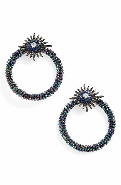 Stella Ruby Starburst Hoop Earrings